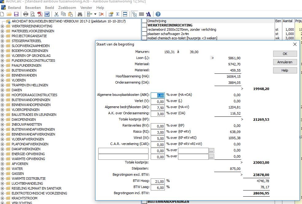 Calculatiesoftware voorbeeldscherm